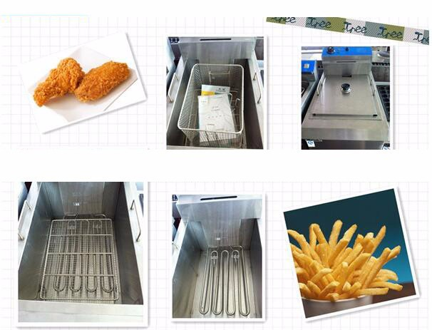 12.5L Stainless Steel Cointe Top Electric-Tank Fryer 1-Basket 1 Tank Electric Fryer Electric Deep Fryer Pan Frying Pots