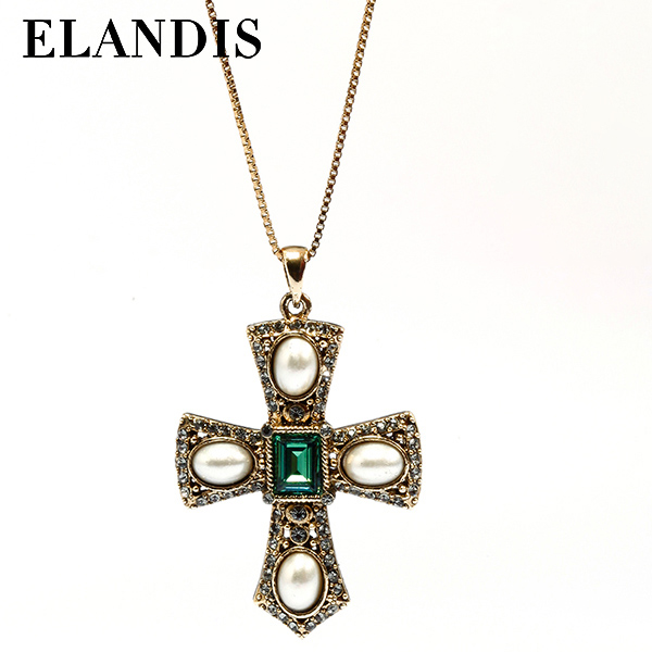 E-ELANDIS yiwu latest design saudi pearl fake gold fashion pendant pearl necklace NL09571