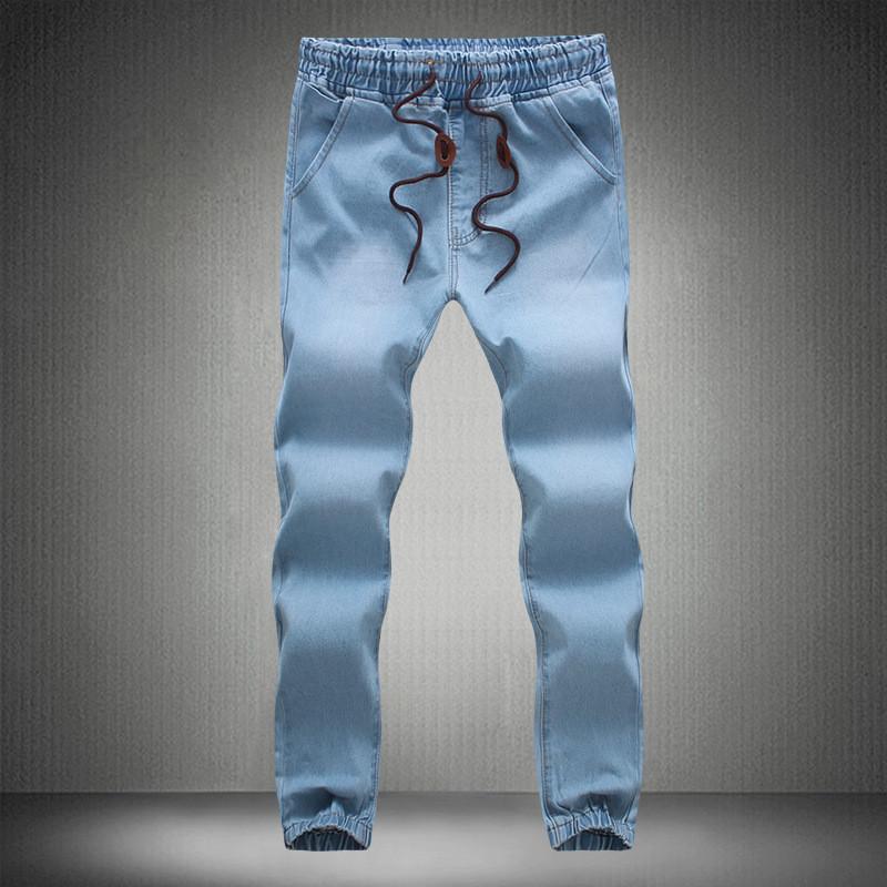 8bccff6301 MORUANCLE Jeans da uomo Moda Pantaloni con coulisse Denim Joggers per uomo  polsino elastico in vita Plus Size M-5XL Pantaloni blu lavato