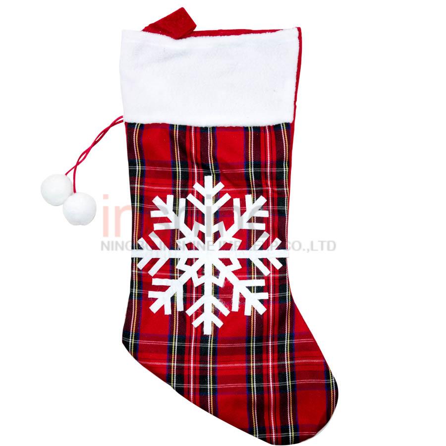 Christmas stocking , fabric red Xmas stocking , christmas santa knit stockings