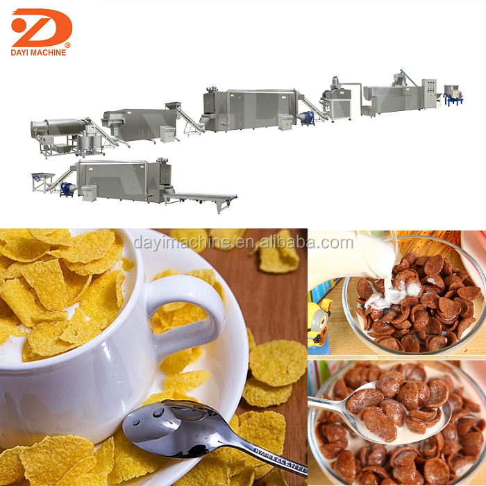 Kelloggs Corn Flakes Snack Food Machine Automatic Corn Flakes Extruding Process Line