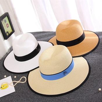 2018 top kualitas fashion kolam renang pantai bertepi lebar topi jerami pita  bowler hat wanita suncap 5314656ab8