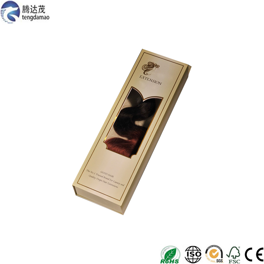 Top grade decorative custom made hair extension packaging box with pvc window