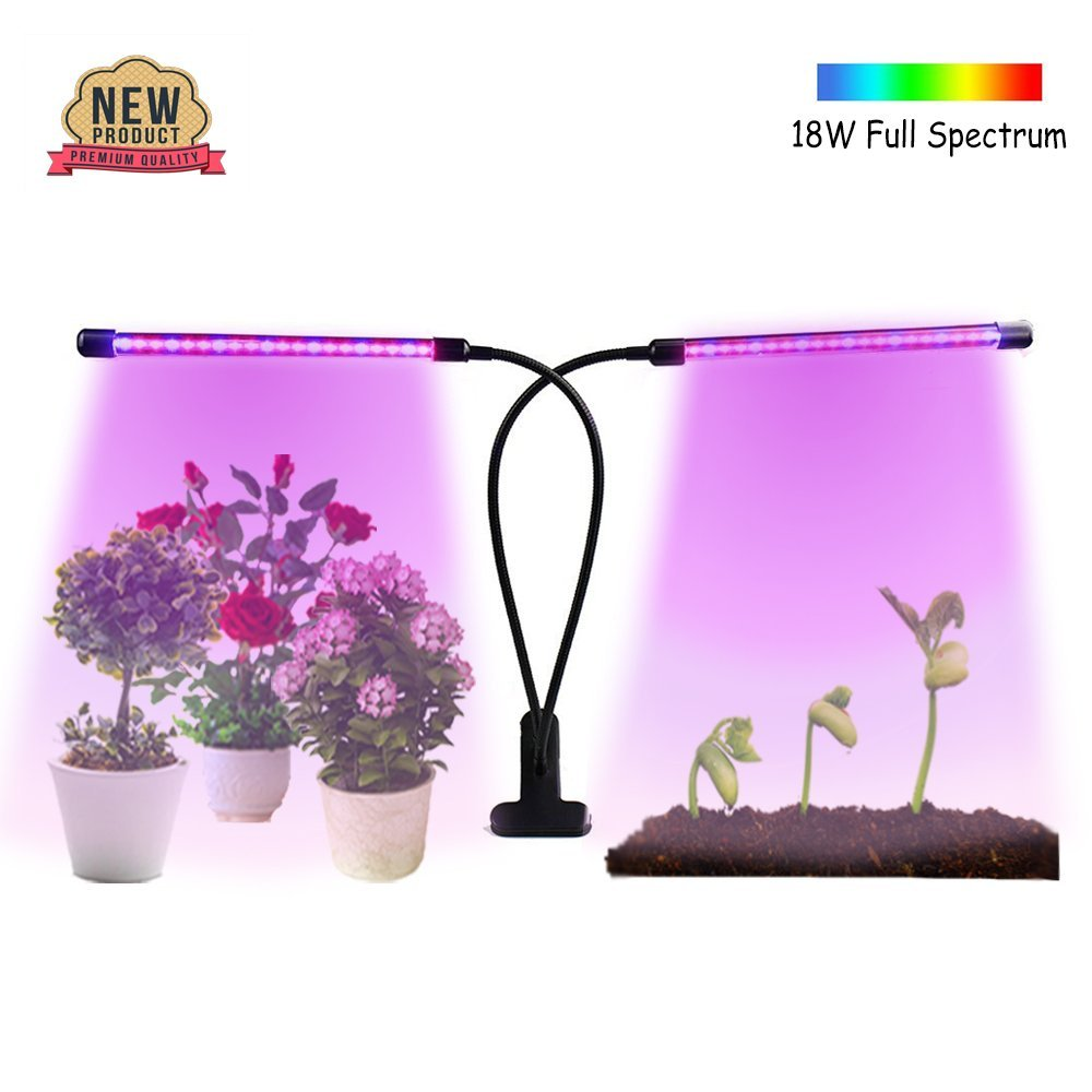 Grow Light, 18W Dual Head Timing Plant Grow Lamp for Indoor Plants | (2018 UPGRADED) 36 LED Full Spectrum Led Grow Lights Adjustable Gooseneck, 3/6/12H Timer, 8 Dimmable Levels | USB Adapter Included