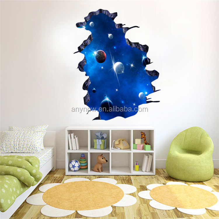 Removable PVC 3D Space Galaxy Wall Poster Stickers