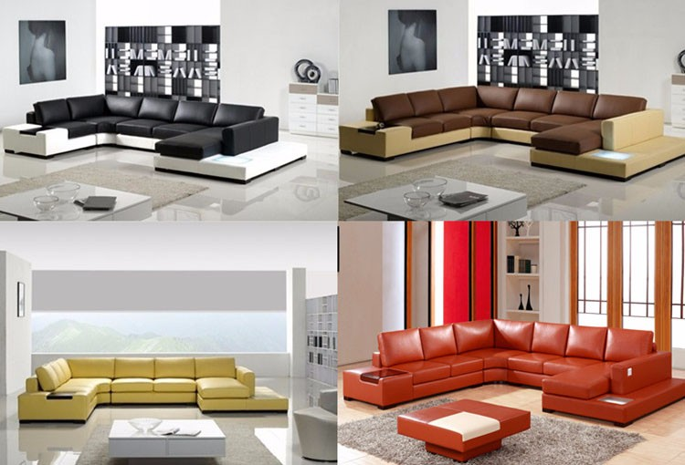 gold supplier european style modern furniture living room sofa set genuine leather corner sofa with lamps