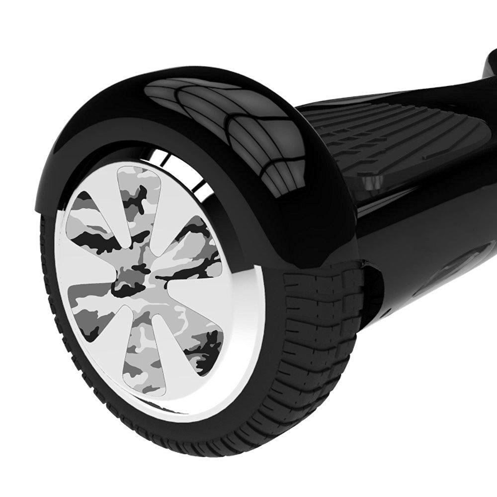 Protective Vinyl Skin Decal for Hoverboard Wheels ? Balance Board Scooter Wheels Mini Board Unicycle Bluetooth Wrap Cover Sticker For Wheels (Black & White Camouflage