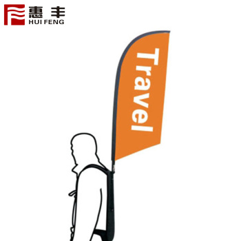 Outdoor promotional walking backpack advertising feather flag banner teardrop backpack flags