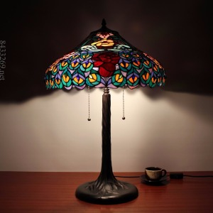18inch wide tiffany peacock design for art table lamp shade with stained glass