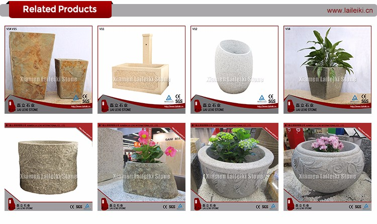 Outdoor Granite Large Garden Stone Face Planters Pots For