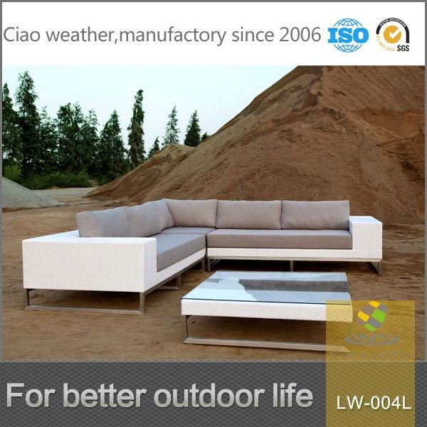 White Rattan Outdoor Furniture L Shape Corner Sofa Pe