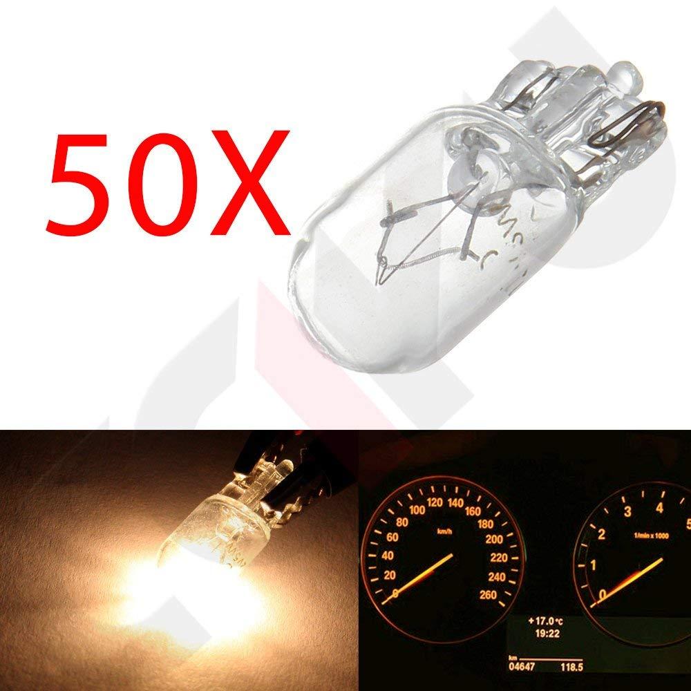 CCIYU 50 pcs 12V White T10 168 W5W Halogen bulb Instrument Cluster Gauge Dash Signal Light