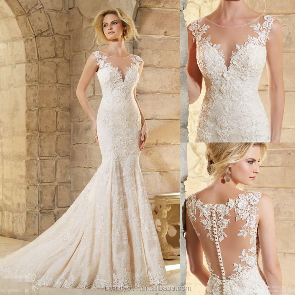latest designs 2016 luxury mermaid illusion neck sleeveless floor length lace sexy wedding dresses gowns china z613 buy lace bridal dresswedding gowns