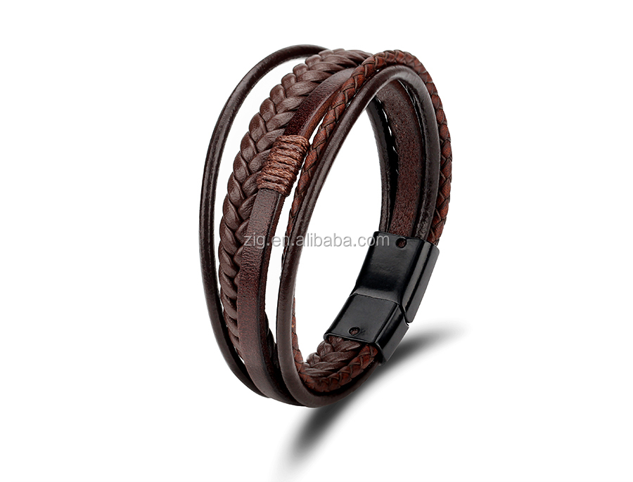2020 New Products Handmade Mens Genuine Leather Bracelet ,Braided Mens Hand Bracelet Leather Men