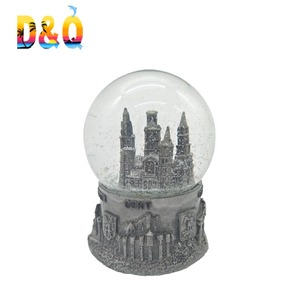 Polyresin 3d building snow globe with blowing snow