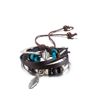 Jenia Jewelry Beaded As Stretch A Leather Cord Bracelet With Genuine Men