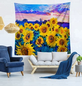 Boho Wall Hanging Yellow Sunflower Tapestry W59 x L51 Lotus Wall hanging Mandala Tapestry for Bedroom