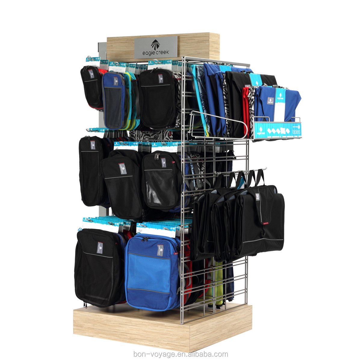 Wooden retail clothes display rack for promotion with holder display rack for hanging items