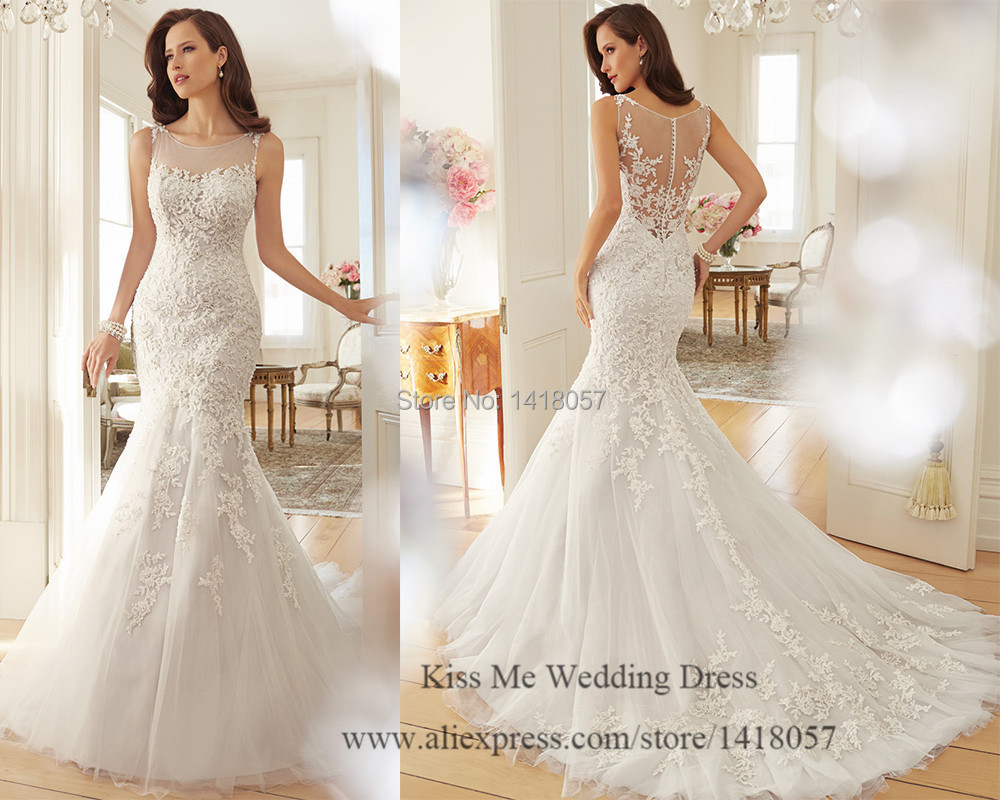 Latest Design Lace Wedding Dress 2015 Mermaid Bridal Gowns