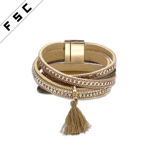 Women Tassels Charm Double Wrap Leather Magnetic Clasp Bracelet