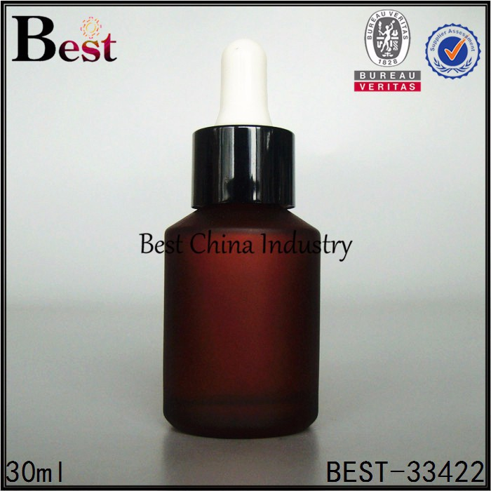 Wholesale amber frosting Aromatherapy glass bottles shrink film packaging, alibaba-essential oil glass bottle w/black dropper