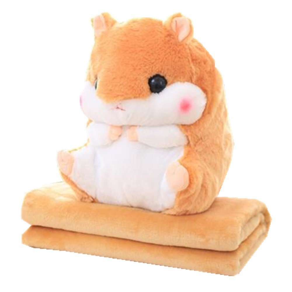 Kenmont 2 In 1 Cute Plush Hamster Stuffed Animal Toys Throw Pillow Blanket Set for baby kids (Hamster Toy and Blanket, Orange)