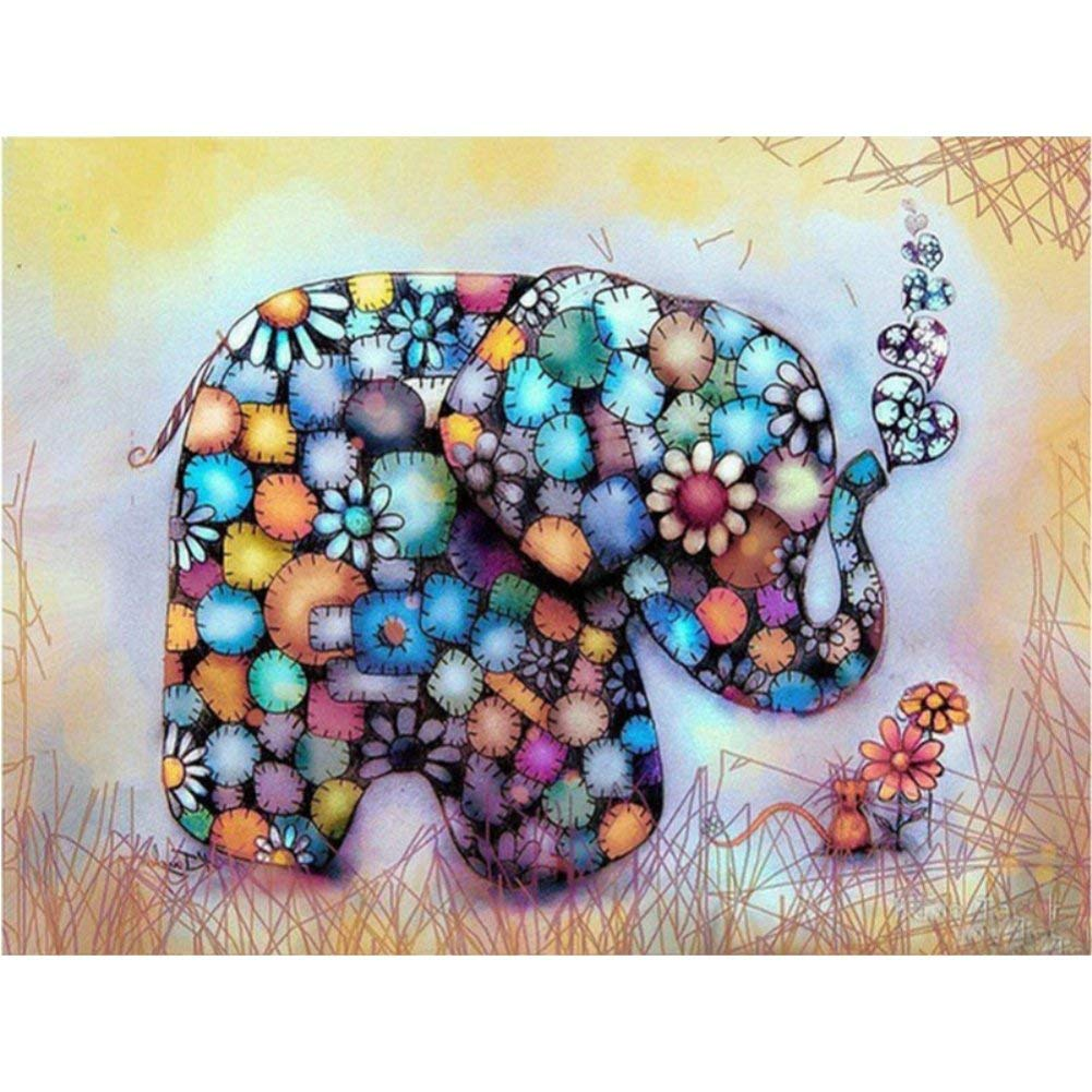 Fairylove 30×40 Diamond Painting Full Diamond Dots Kit Bead Painting Kit Painting with Diamonds Cross Stitch Arts Craft, Color Candy Elephant