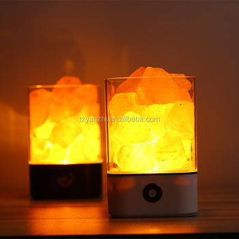 Lâmpadas de Sal de Rocha Natural Hymalain Himilian USB Cristal de Sal Do Mar Night Light com Interruptor de Toque Dimmer