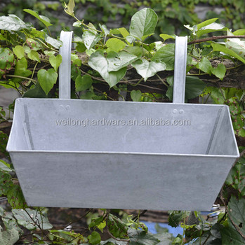 Garden Galvanized Metal Flower Pot Stands Rectangle Antique Decorative Hanging Planters For Home And