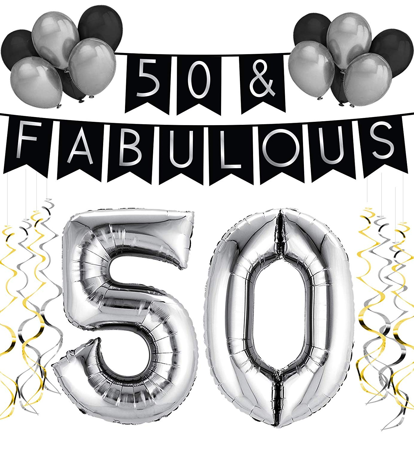 50 & Fabulous Birthday Party Pack – Black & Silver Happy Birthday Bunting, Balloon, and Swirls Pack- Birthday Decorations – 50th Birthday Party Supplies