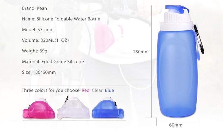 Healthy Travel BPA Free Silicone Travel Collapsible Water Bottle With Filter