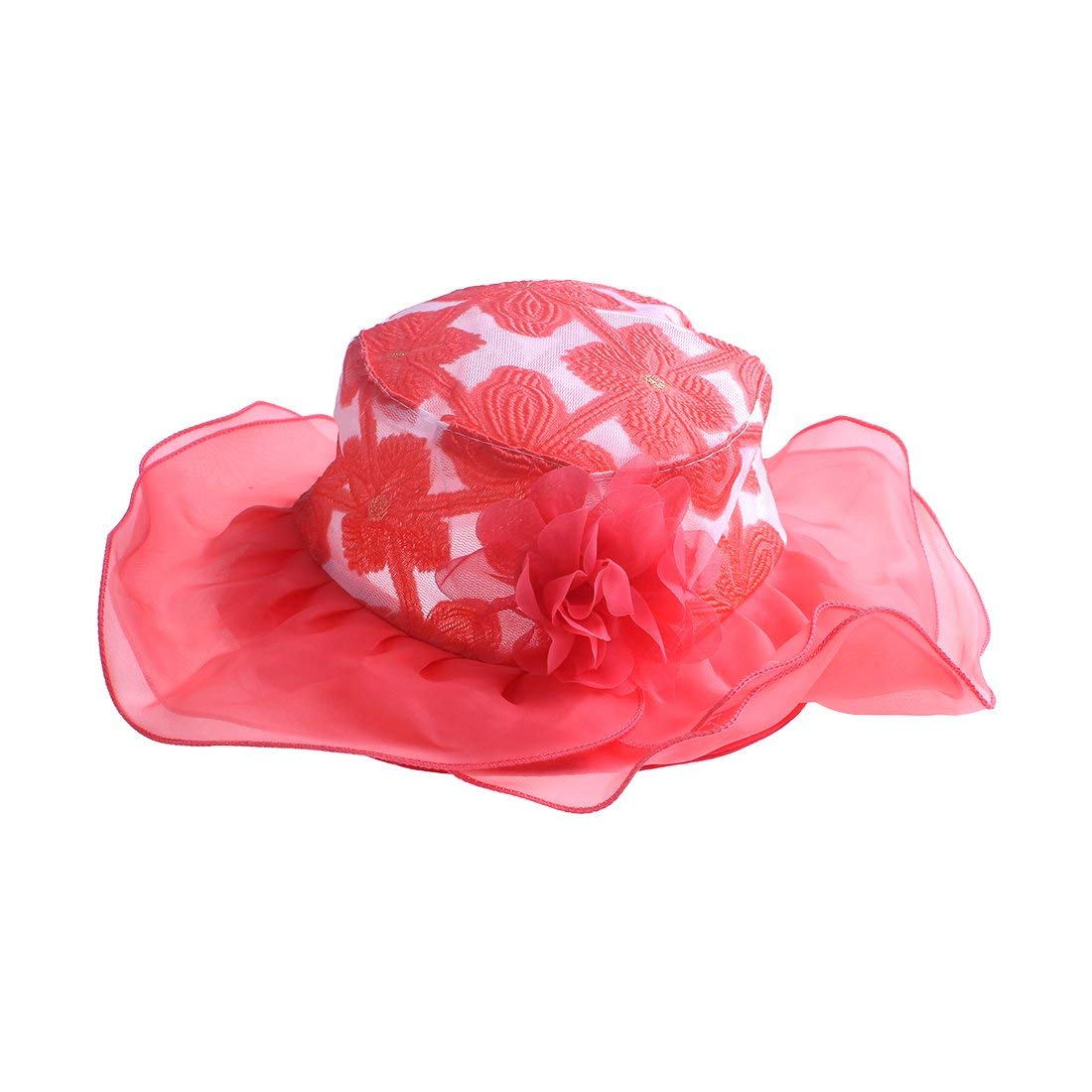 Get Quotations · kimmyku Kids Toddler Little Girls Wide Brim Organza Floppy  Wedding Church Tea Party Hat Sun Hat 063e22243d89