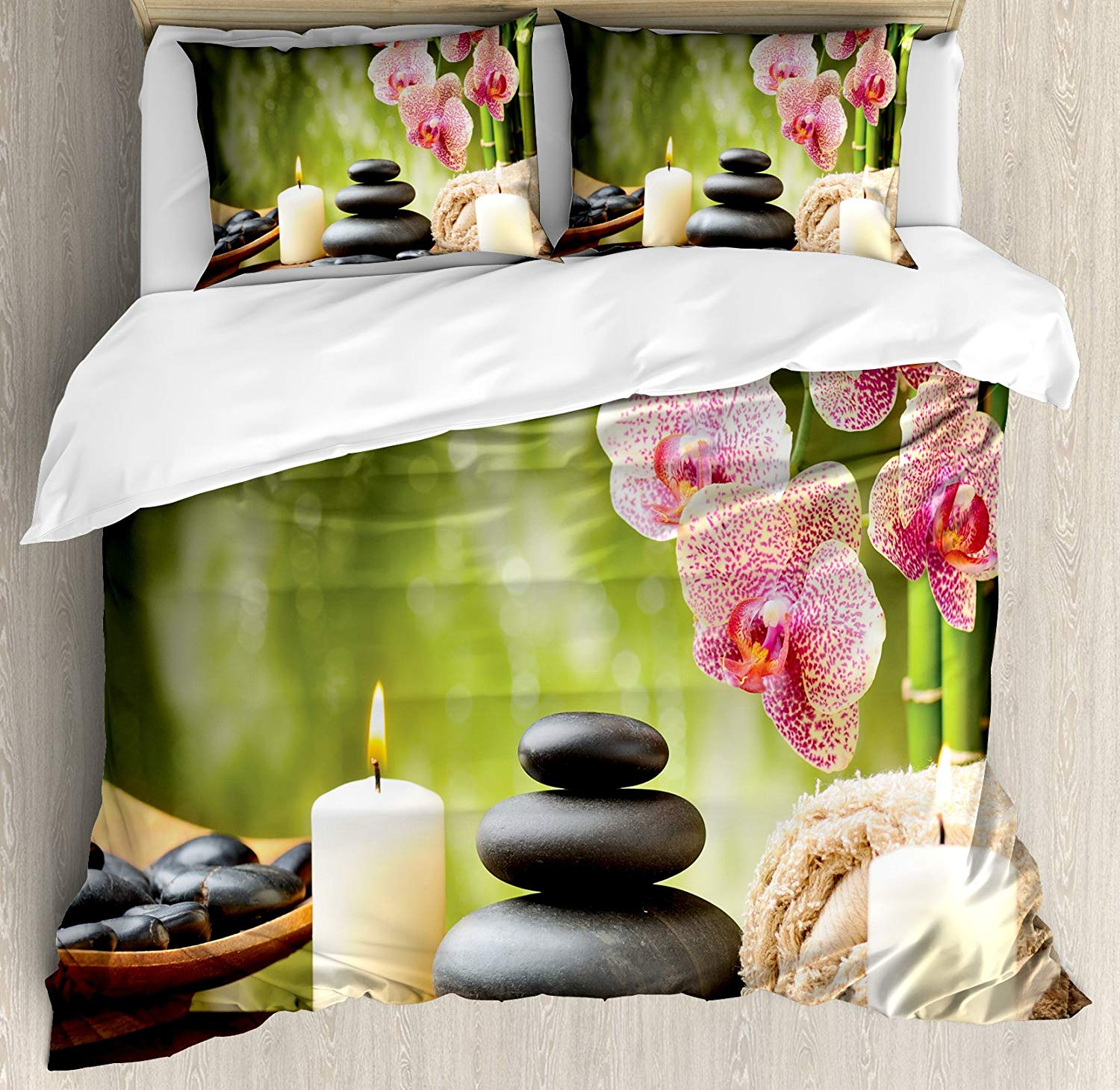 5f414485613 Lunarable Zen Duvet Cover Set King Size, Basalt Stones Bamboo Scented  Candles Flowers and Blurred
