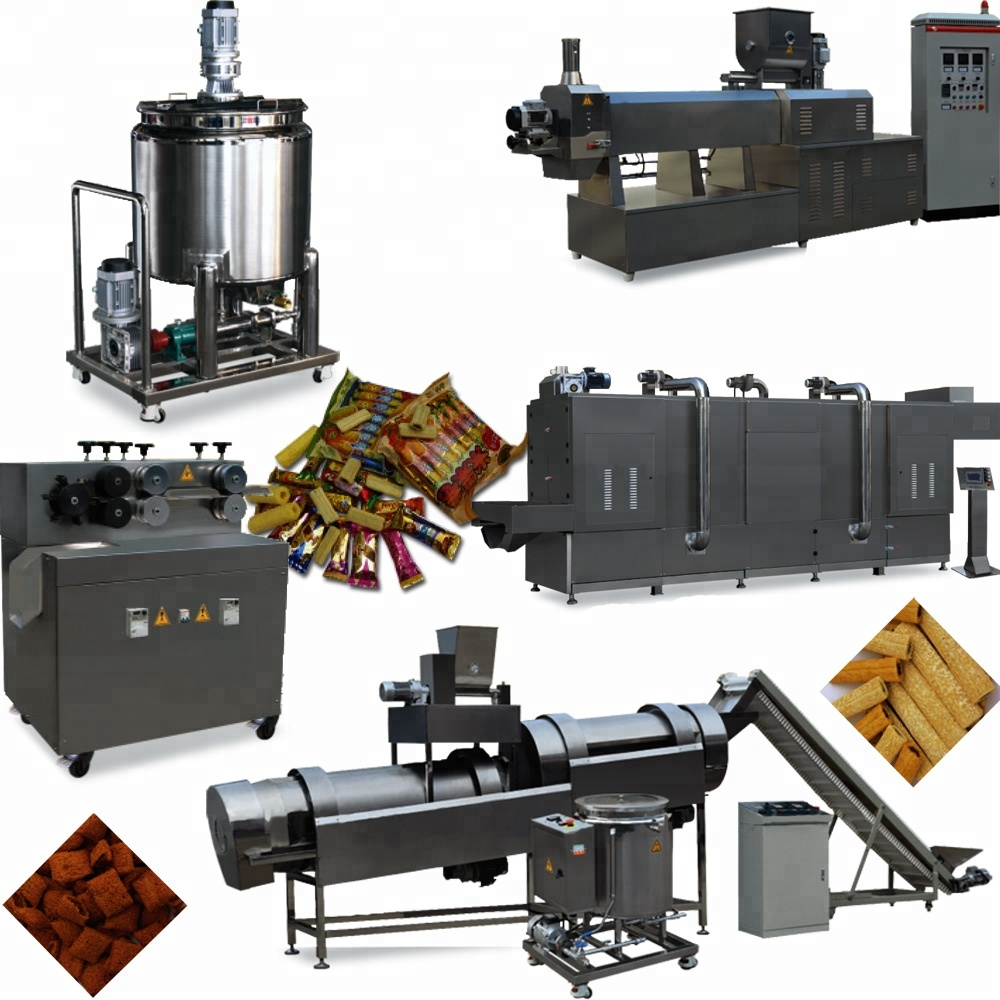 China Good Price And Quality Industrial Flavoured Puffed <strong>Corn</strong> Filled Snacks Making Machines With Double Screw Extruder