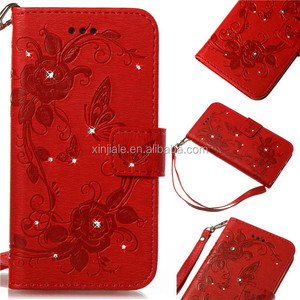 Bling Flower Paint Flip Magnetic Leather Wallet Case Cover Phone ShellFor Iphone 6 6s 7 7s 8 8s plus for china new year Red