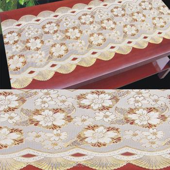 50cm*20m Long Lace Gold/silver PVC Vinyl Crochet Tablecloth Roll