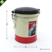 stainless steel airtight locked round tea tin can