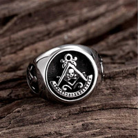 Yiwu Meise Cool Mens Silver Gold Free Mason Masonic Ring Stainless Steel Band Skull Rings