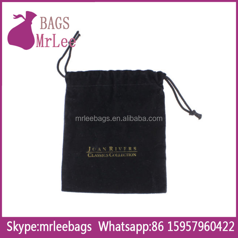 Custom velvet jewelry bag drawstring gift pouch with custom printing from china factory