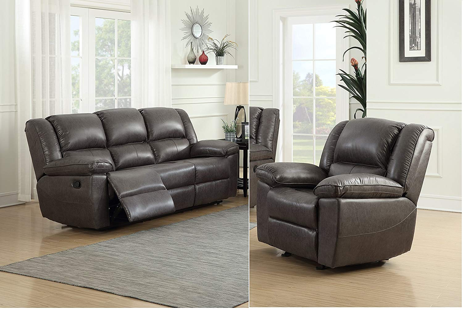 Get quotations · container furniture direct s6033 s c oregon fabric upholstered traditional reclining set with 83 5