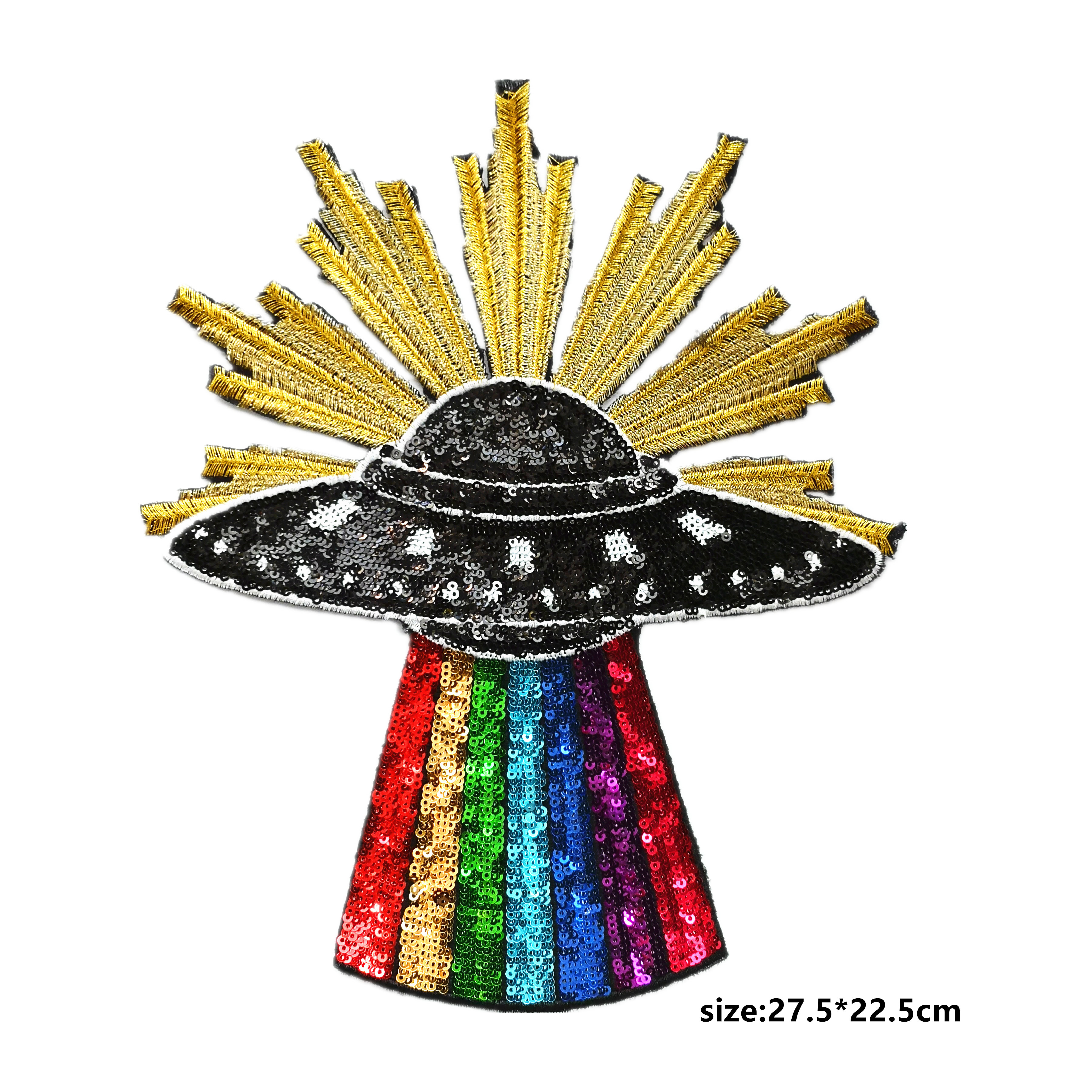 GUGUTREE big embroidery UFO patch,UFO sequined iron on appliques,space earth badges for jackets