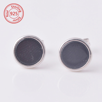 925 Sterling Silver Men Earrings Round Onyx Earring Stud With Black Stone