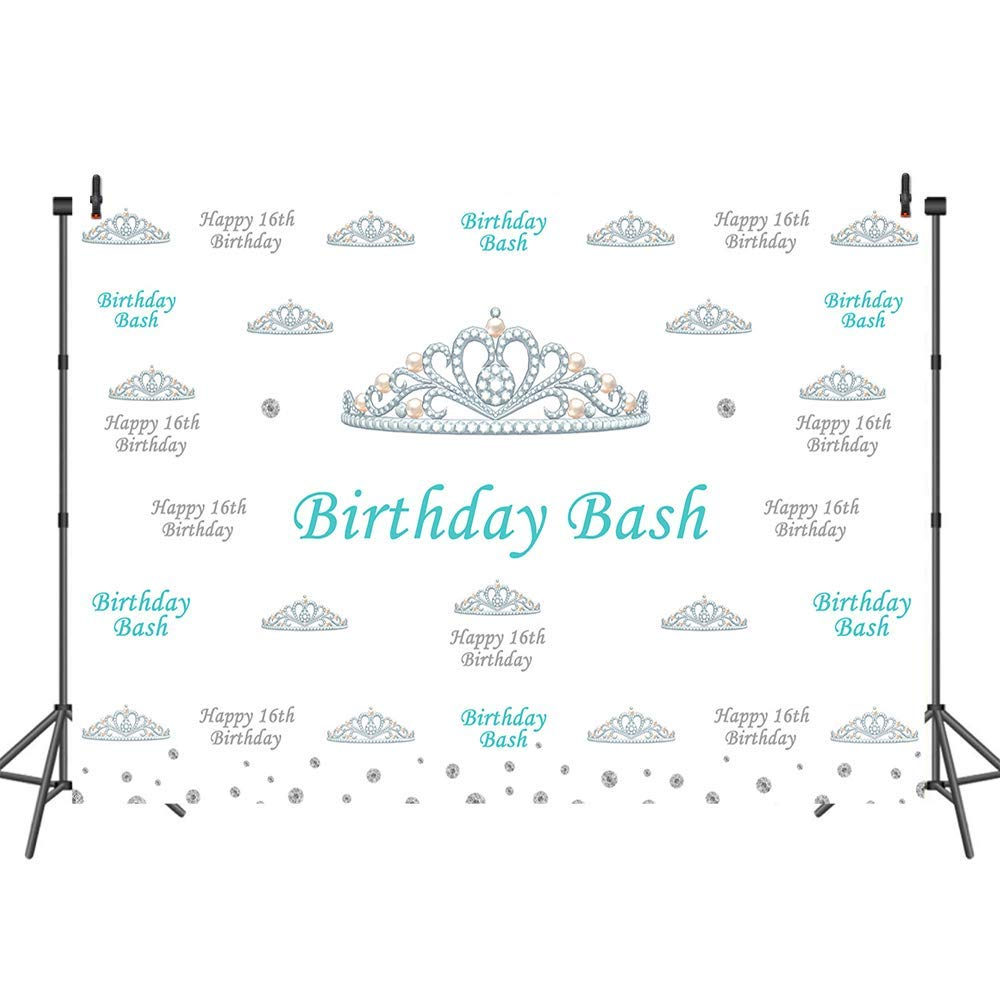 Mehofoto Sweet Sixteen Birthday Backdrop Step and Repeat Crown Background for Girls 7x5 Customized Vinyl Birthday Bash Photography Backdrops for 16th Birthday Party Decorations Supplies