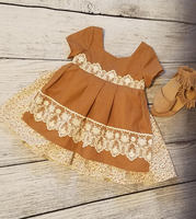 Fall Boutique Outfits Toddler Clothing Girls Boho Dress Mustard Lace Dress