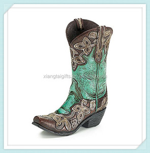 Beautiful Decorative Turquoise Cowgirl Boot Vase