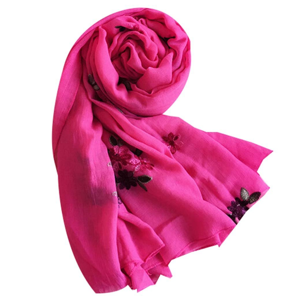 Embroidered Shawl Thick Warm Scarf Scarves Women Dual-use Shawl Scarf,Rose Red