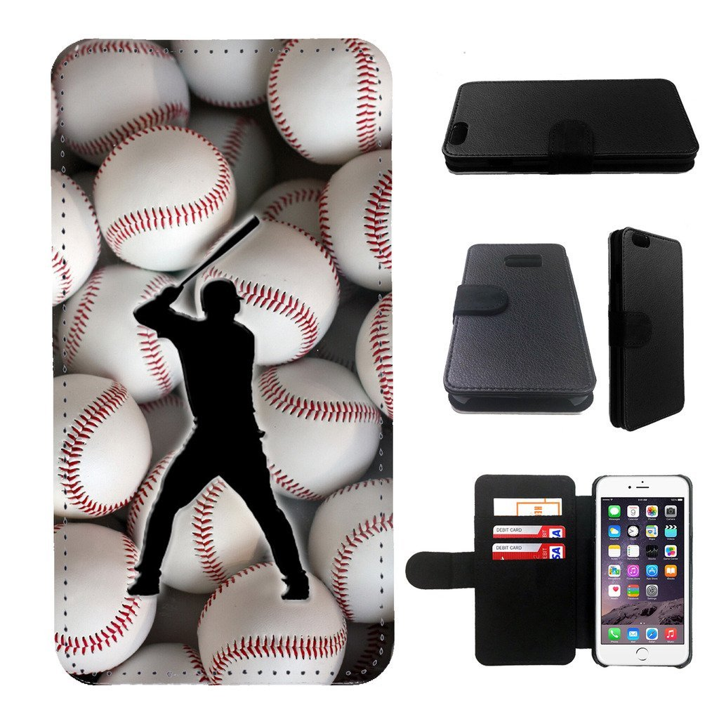 Baseball Samsung Galaxy note 4 wallet leather case, galalxy note 4 wallet case, galaxy s5 flip case, black