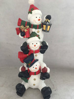 Magnesia snowmen sculptures,fiber clay resin christmas figurines