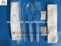 airline disposable plastic cutlery kit with condiment