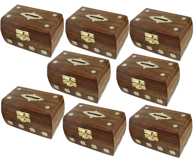 "Set of 8 - Treasure Chest Money Box - Safe Money Box Savings Banks Wooden Carving Handmade - Large Piggy Bank for Kids 4.5"" x 3"" x 3"""